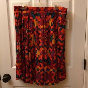Lularoe Madison skirt red purple mustard blue 2XL